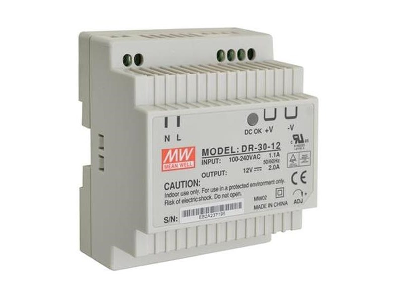 Блок питания на DIN-рейку 12V DC/2A. Mean Well DR-30-12